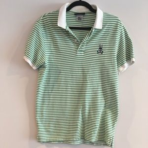 Psycho Bunny Striped Polo In Green White shirt